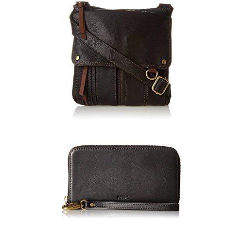 Fossil Morgan Crossbody with Emma Smartphone Wallet Rfid Phone Wristlet, Black