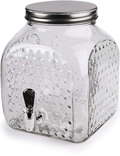 Circleware 69150 Gla Hobnail Square Bottom Glass Beverage Dispenser with Metal Lid, 1.25 Gallon, Glassware for Water, Iced Tea Kombucha, and All Type of Cold Drinks