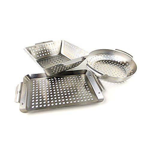 Stainless Steel Grill Basket - Yukon Glory Set of 3 Professional Barbecue Grilling Baskets Heavy Duty Stainless Steel BBQ Basket, Great Gift for Grillers