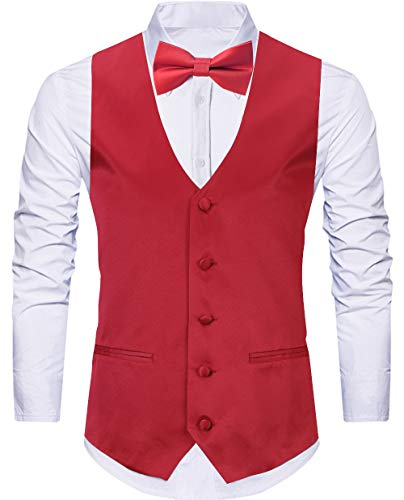 WANNEW 4pc Mens Tuxedo Vest Suit Vest Paisley Vest Set, with Bow Tie, Neck Tie & Pocket Hanky (Small, Red) ()