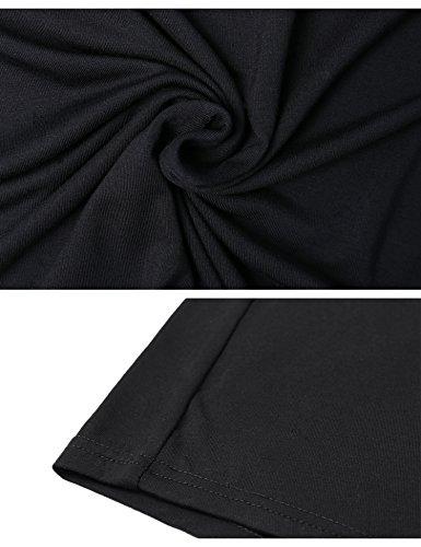 Femme Courte Dcontract Blouse Chemisier V Manche Shirt iClosam Noir Col Shirt Top t Tee UqwERHR