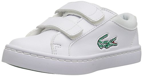 Lacoste Sneakers Lace (Lacoste Kids' Straightset Lace Sneakers,White/White synthetic,10. M US Toddler)