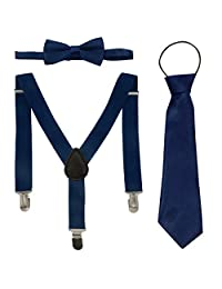 Boys Adjustable Elastic 3 Clips Y-Shape Solid Braces Bow Tie Set for Wedding