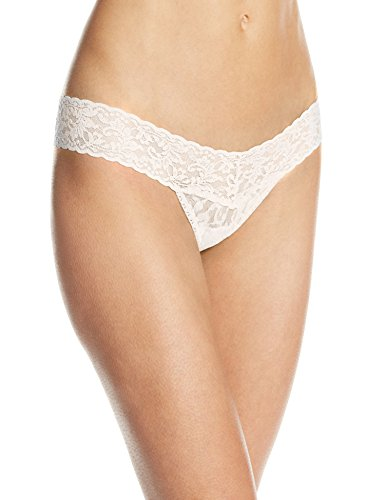 Panky Low Rise White Hanky Lace Thong (Hanky Panky Women's Signature Lace Low Rise Thong Panty, Ivory, One Size)