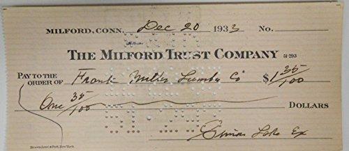 Simon Lake Hand Signed Autographed Personal Check $1.35