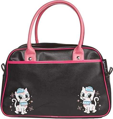 Black & Pink Retro Kitten Bowler Purse from Sourpuss Clothing