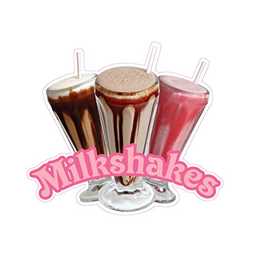 Milkshakes Concession Restaurant Die-Cut Window Static Cling 18 inches Outside Glass - Opaque Milk Glass