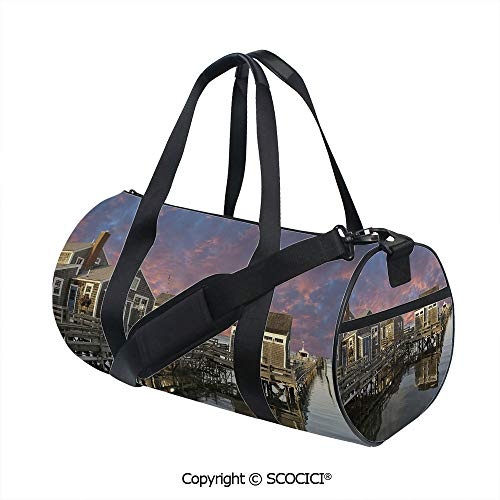 Men's Sports Shoulder Bags,Sunset over Nantucket Massachusetts Dramatic Sky Clouds Pond HousesSports and Fitness Essentials,(17.6 x 9 x 9 in) Coral Blue Sepia