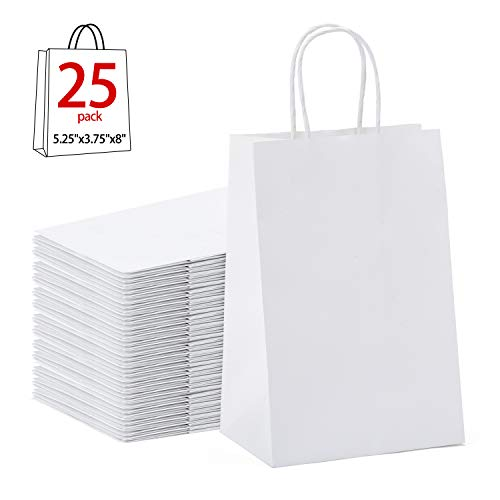 (GSSUSA Halulu Kraft White Paper Bags - Gift Bags with Handles - 25pc 5