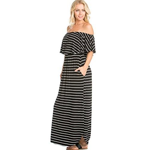 009fed98b6c RED STITCH Women s Ruffle Off-Shoulder Jersey Maxi Dress w Side Pockets