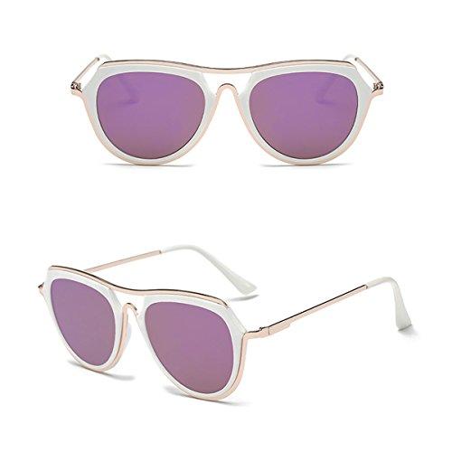 Aviator Vintage Womens Polarized Sunglasses Retro Eyewear (White) - 9