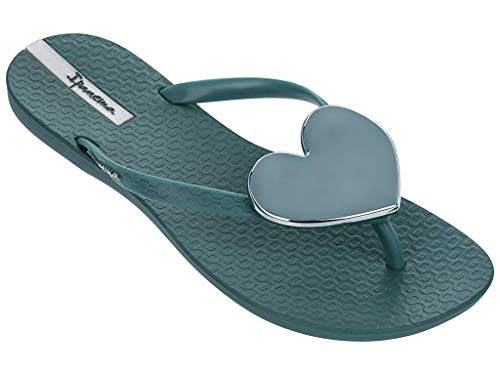Ipanema Wave Heart Women's Flip Flops, Green/Green (6 US)