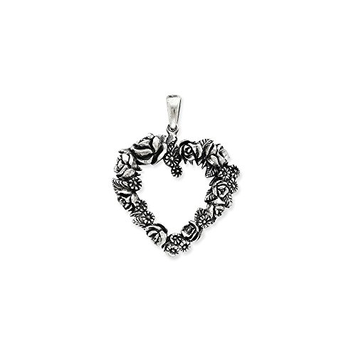 Sterling Silver Solid Polished Open back Antique finish Antiqued Heart of Roses Charm