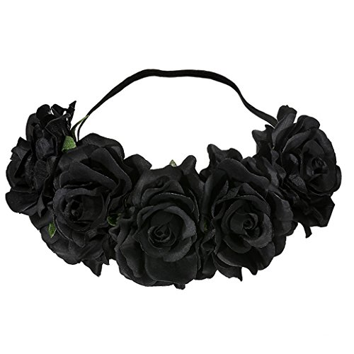 Lujuny Big Rose Flower Crown Headband - Floral