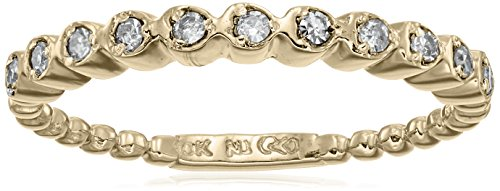 10k Yellow Gold White Diamond Ring (1/10 cttw, H-I Color, I2-I3 Clarity), Size 5