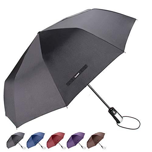 "TradMall Travel Umbrella with 10 Reinforced Fiberglass Ribs 42"" Large Canopy Auto Open & Close, Black"