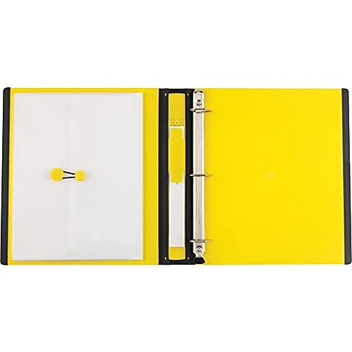 staples better 1 inch d 3 ring view binder yellow 19064 43160