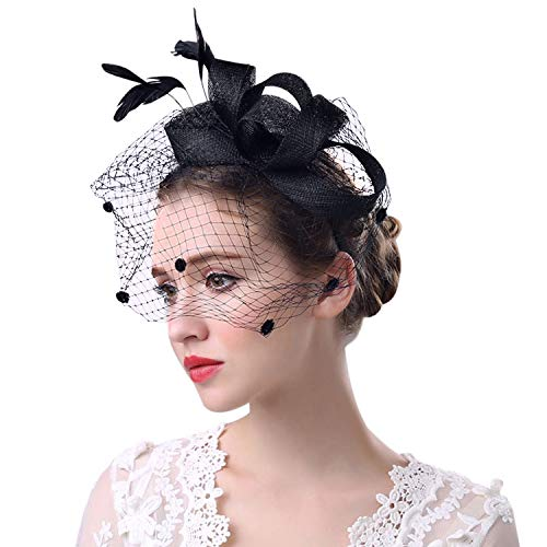 Honbay Black Veil Feather Fascinator Hat with Headband for Prom, Cocktail, Bridal Shower, Tea Party, Birthday Party,etc]()