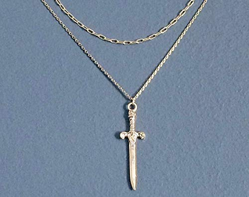 - WAS $34.00 - RM JEWELRY STUDIO - layered, dagger/sword pendant, gold plated necklace, edgy