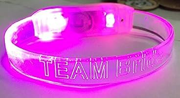 Set of 3 Team Bride Pink Light Up Sound Activated Bachelorette Hen Party Bracelets Bridal Wedding Party Bracelet Recoverychip