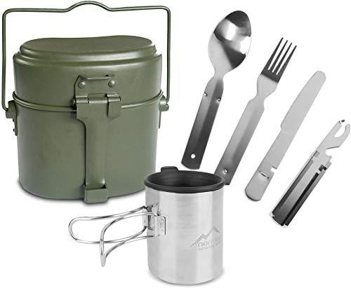 normani Outdoor Geschirr-Set bestehend aus Bundeswehr Kochgeschirr, 5-teiligem Besteck und Tasse mit klappbarem Henkel…