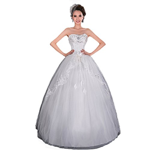 UGE Pearl Beaded Strapless Sweetheart Lace Tulle Wedding Dress Long White