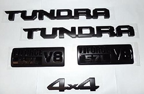 OEM TOYOTA TUNDRA BLACK-OUT SOLID EMBLEM SET OF 5 (NOT OVERLAYS) W/ 4X4 EMBLEM ()