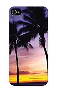 Iphone 5/5s Hard Back With Bumper Silicone Gel Tpu Case Cover For Lover's Gift Nature Palm Trees Tropical Sky Sunset Sunrise