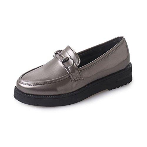 T-july Mujeres Confort Estilo Universitario Slip On Oxfords Penny Zapatos Mocasines Inferiores Gruesos Color Del Arma