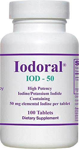Optimox Iodoral 50mg, 100 Tablets, High Potency Iodine Potassium Iodide Supplement - Thyroid Support - IOD 50