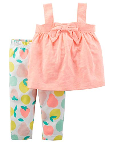 Carter's Baby Girls' 2-Pc. Bow Tunic and Fruit Print Leggings Set 6 ()