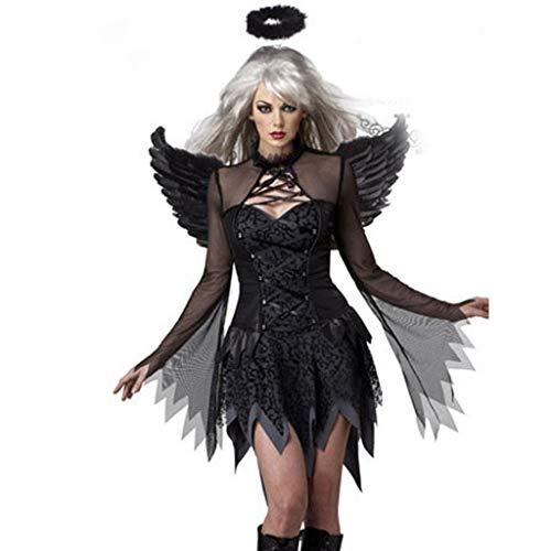 Fallen Angel Halloween Costume Ideas (Hpapadks Halloween Special, Women's Mesh Sexy Party Cosplay Costume Fallen Angel Skirt with Wings Costume)