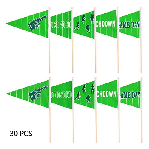 Tinksky Super Bowl Pennants Football Stick Flag Waving Flag Super Bowl Party Decoration Favors, 30PCS]()