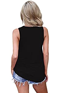 Feiersi Women's Summer Sleeveless Criss Cross Casual Tank Tops Basic Lace up Blouse