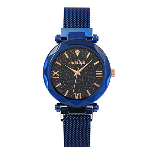 LUXISDE Watch Women Fashion Starry Sky Flat Glass Quartz Mesh with Magnetic Buckle Ladies Watch Blue