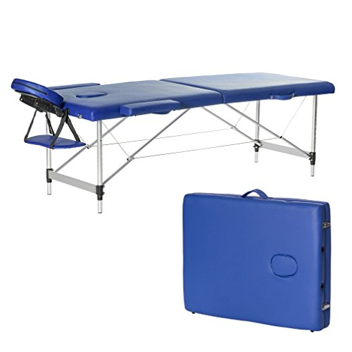 Homgrace Portable Massage Table 2 Fold Aluminum Alloy Frame for Facial SPA Bed / SPA Therapy / Beauty Salon (Blue)