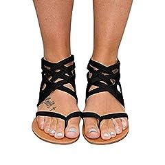 c9a524c47b2 Women Gladiator Criss Cross Flat Sandals Flip Flop Strappy Sh ..
