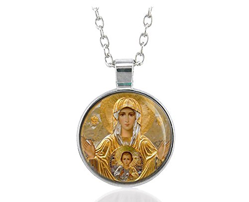 Our Lady of Sign Theotokos Greece Icon Orthodox Necklace Silver Tone Pendant