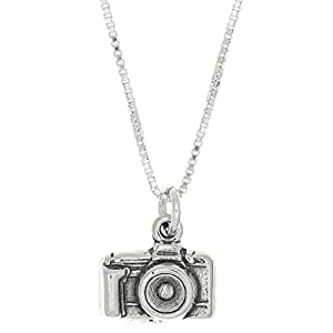 Sterling Silver Oxidized 3D Point and Shoot Camera Charm Pendant with Polished Box Chain Necklace (16 Inches)