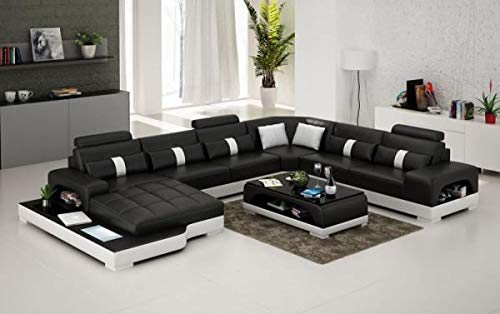 Opulent Items Connie Italian Leather Sectional Sofa in Black & White w Matching Coffee Table ()