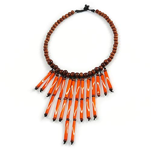 Avalaya Statement Brown Wood Bead with Orange Bone Bib Necklace - 46cm L/ 14cm Front Drop ()