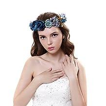 Beautiful Women Rose Flower Crown Garland Headband with Adjustable Ribbon