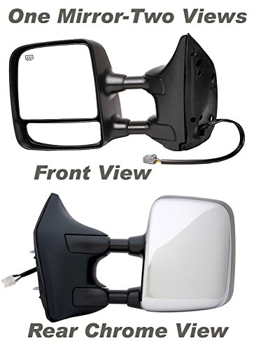 APDTY 0662866 Side View Tow Towing Mirror Fits Left 2004-2015 Nissan Titan (Driver-Side, Black Housing With Chrome Back Cover, Extends, Standard Power, Heated Replaces 96302-ZR30E, 96302ZR30E) ()