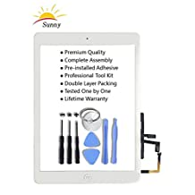 Sunny iPad 5/air Touch Screen Digitizer Glass Assembly(White) - Includes Home Button Camera Holder Pre Installed Adhesive Stickers and Professional Tool Kit