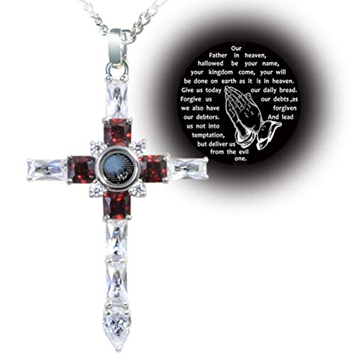 VISILOVE Lord' s Prayer Praying Hands Cross Necklace Pendant (Garnet Red)