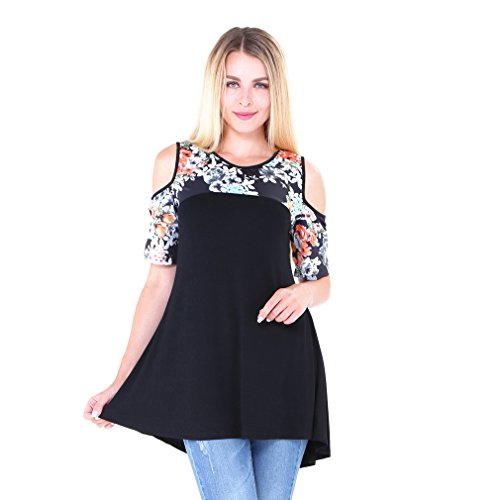 Womens Floral Cold Shoulder T Shirt Dress High Low Loose Blouse Tees Tops Black XL