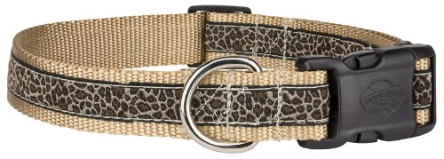 Country Brook Design Deluxe Leopard Print Woven Ribbon Dog Collar - Extra Large