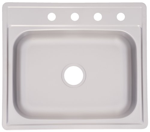 Kindred FSS704NB Single Bowl Stainless Steel 25-Inch by 22-Inch Topmount Sink