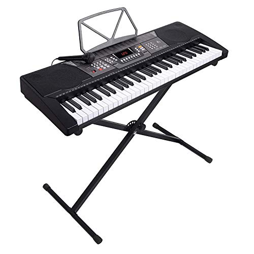 LAGRIMA 61 Key Portable Electric Piano Music Keyboard W/X Stand, Power Supply, Microphone, Suit for Teen Adult Beginner, Black