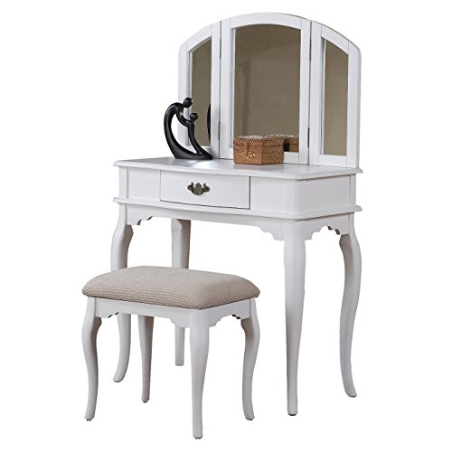 Bobkona Jaden Collection Vanity Set with Stool, White - Birch Single Bathroom Vanity